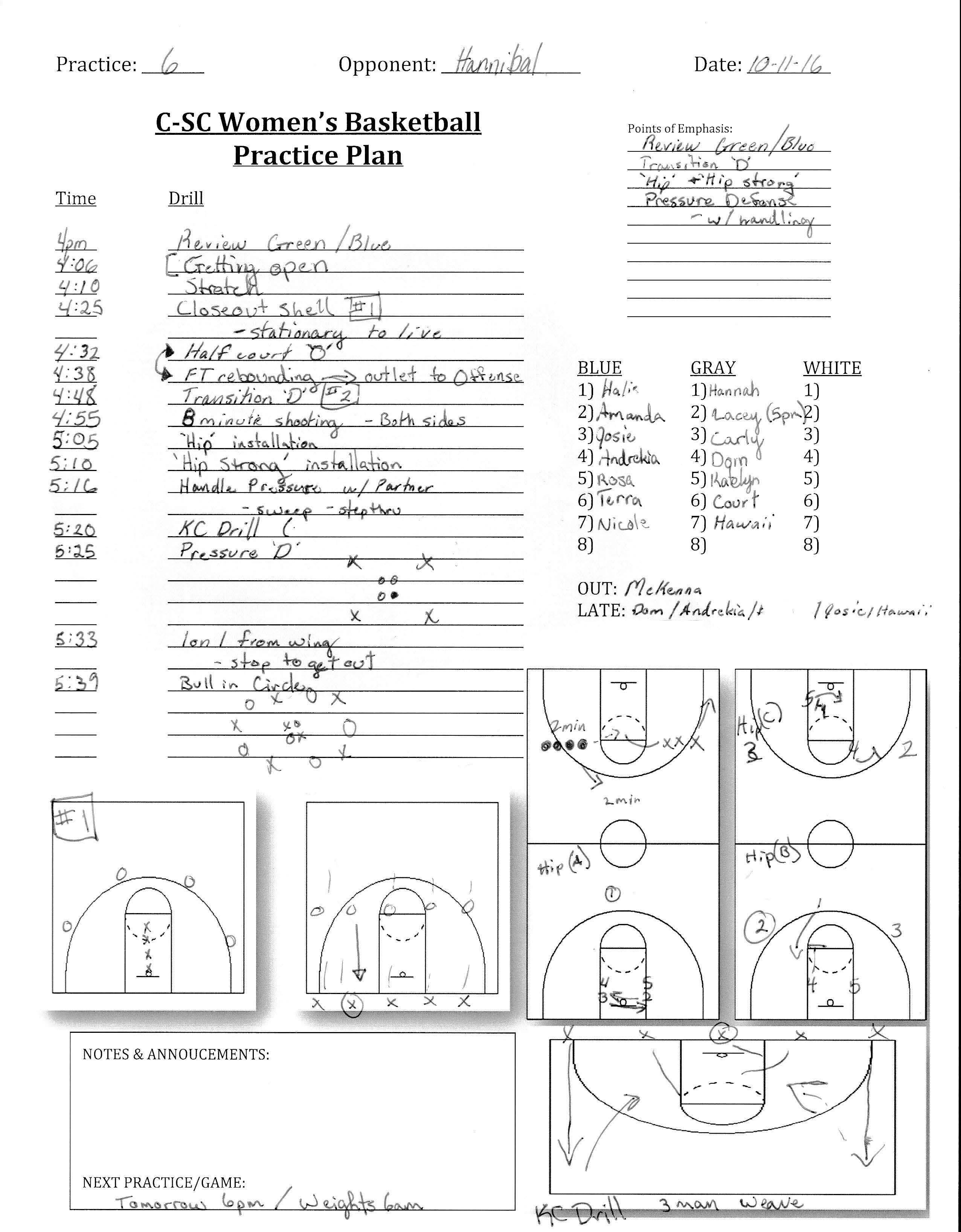 Culver Stockton WBB Practice Plan